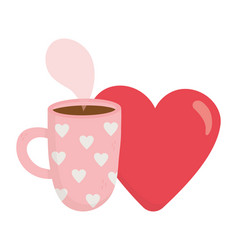 Happy valentines day hot coffee cup and red heart vector