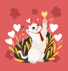 happy valentines day with cat catching butterfly vector image