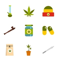 Hashish icons set flat style vector