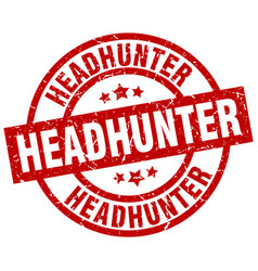 Headhunter round red grunge stamp vector