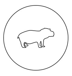 hippopotamus black icon in circle outline vector image