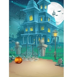 Holiday card with a mysterious Halloween haunted vector