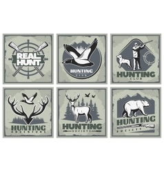Hunting Adventure Posters Set vector image