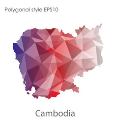 isolated icon cambodia map polygonal geometric vector image
