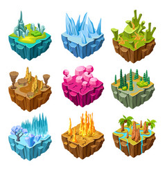 Isometric colorful game islands set vector