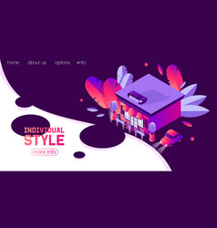 isometric landing page banner template in vector image