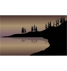 Landscape lake of silhouette vector