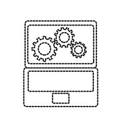 laptop and gears hardware technical icon web icon vector image