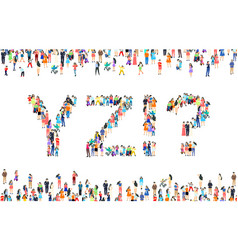 Large group people in letter y z excitement vector
