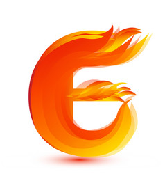 Letter e in fire flame icon vector