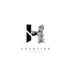 Letter h logo design icon with artistic grunge vector