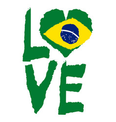 Love brazil america vintage national flag in vector