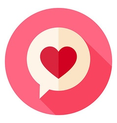Love Heart Speech Bubble Circle Icon with long vector