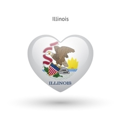 Love Illinois state symbol Heart flag icon vector