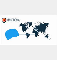 Macedonia location on the world map for vector