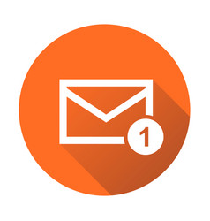 mail envelope message in flat style on round vector image