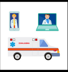 male female doctor avatar ambulance car vector image