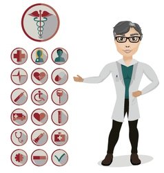 Man Doctor and 18 medical icons vector image