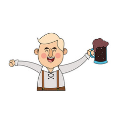 man in folk german costume holding dark beer icon vector image