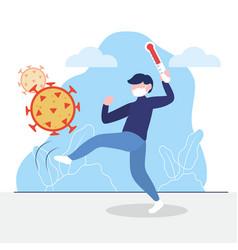 Man kicking coronavirus and holding a thermometer vector