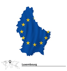 Map of luxembourg with european union flag vector