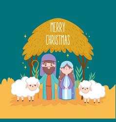 Mary joseph with sheeps hut manger nativity merry vector