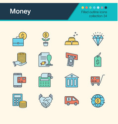money icons filled outline design collection 34 vector image