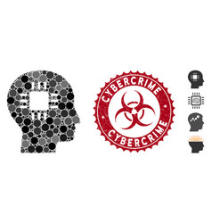 mosaic brain processor icon with grunge cybercrime vector image