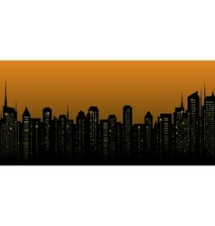 Night city landscape and many skyscrapers vector