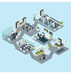 Office Isometric Different Floors vector