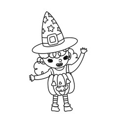 Outline happy girl with pumpkin costume and witch vector