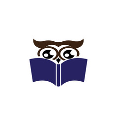 owl read book for logo design wise icon vector image