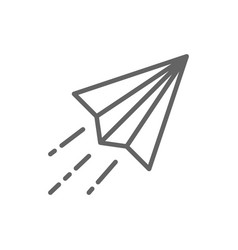 paper plane origami airplane line icon vector image