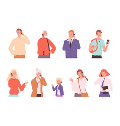 phone dialogue talking people male and female vector image