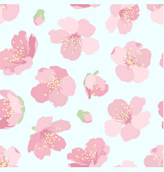 pink sakura cherry tree blossom seamless pattern vector image