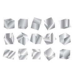 realistic geometric 3d square shape silver vector image