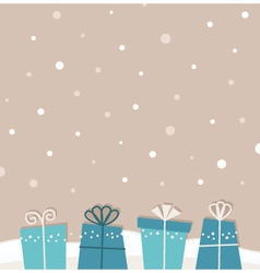 Retro christmas snowing background with gifts vector image
