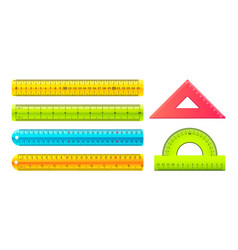 ruler cartoon measuring tools with metric and vector image