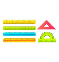 ruler cartoon measuring tools with metric vector image