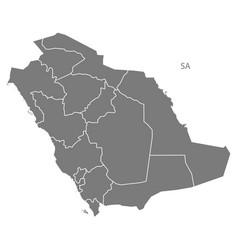 Saudi arabia regions map grey vector