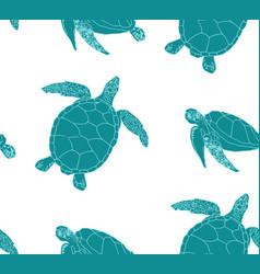 Sea turtles seamless background vector