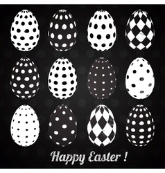 set black easter eggs with patterns vector image