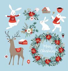 Set cute christmas clip-arts with bunnies vector