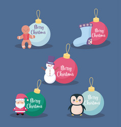 set of balls decorative christmas vector image