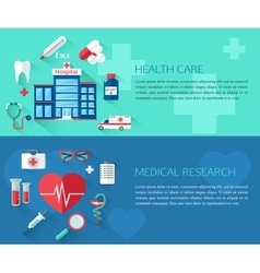 Set of health care and medical research concept vector