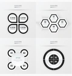 set of presentation design black and white color vector image