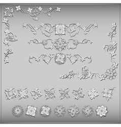 Set of silver vintage design elements vector