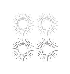 set sunburst vintage background for emblem vector image