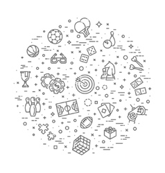 simple set games related line icons vector image
