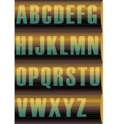 Striped Sunblind Alphabet Unusual vintage font vector